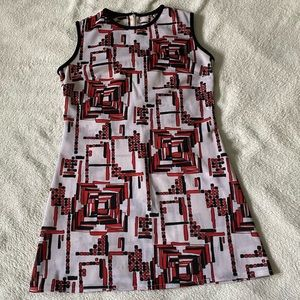 Vintage geometric print sleeveless mini dress